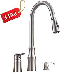 Hotis 3 Hole Kitchen Sink Faucet with Pull Down Sprayer Soap