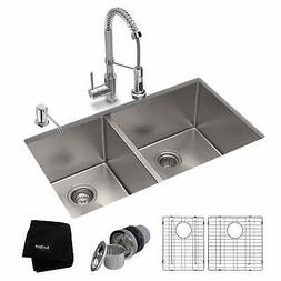 Kraus 3-in-1 Set Undermount Kitchen Sink, Pulldown Faucet,