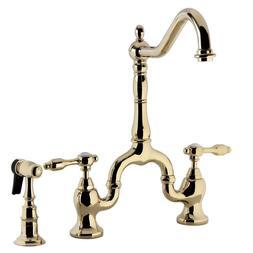 """8"""" Bridge Kitchen Faucet w Side Sprayer Spout Reach, Polishe"""