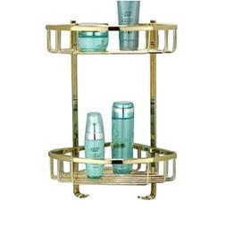Rozinsanitary Dual Tier Corner Bracket Golden Brass Bathroom