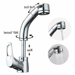 Adjustable Height Kitchen Sink Faucet with Pull Out Sprayer
