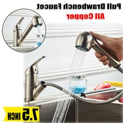 All Copper Pull Out Sprayer Kitchen Faucet Single Handle Wat