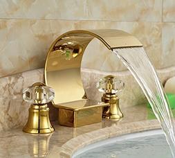 Rozin Arc Waterfall Spout Bathtub Faucet Crystal Knobs Mixer