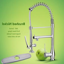 Modern 360° Brushed Nickel Spring Kitchen Sink Faucet Pull