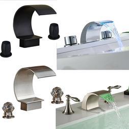 Bathroom Sink Faucet Widespread Waterfall Tub Brass Mixer Ta