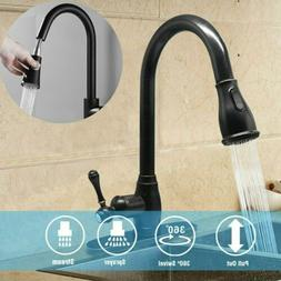 Black Modern Kitchen Sink Faucet Taps Pull Out Single Lever