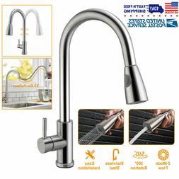 Brushed Kitchen Sink Faucet Pull Out Sprayer Single Hole Swi