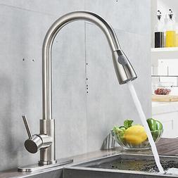 VAPSINT Brushed Nickel Kitchen Faucet Single Handle Sink Pul