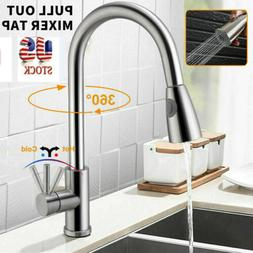brushed nickel stainless kitchen sink faucet pull