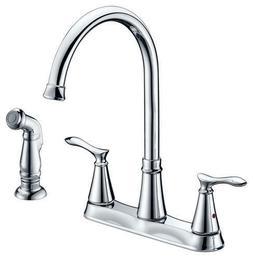 """Modern Kitchen Faucet Chrome 2 Handle 8"""" Centerset Hi Arc 4"""