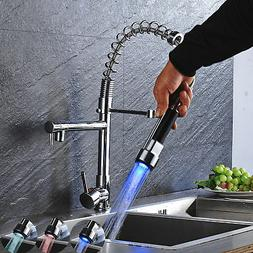 Chrome Kitchen Faucet LED Pull Out Spray Single Lever Swivel