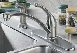 Collins Arched Single Handle Kitchen Faucet with Spray - Fin
