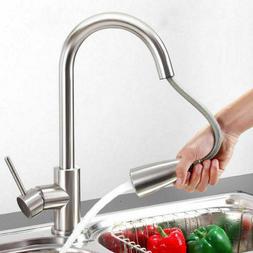 Comllen Kitchen Faucet Brushed Nickel Commercial Single Hand