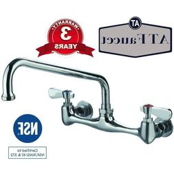 "Commercial Kitchen 8"" Center Wall-Mount Faucet with 12"" Spou"