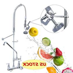 "12"" Commercial Wall Mount Kitchen Pre-Rinse Faucet w/ Add-On"