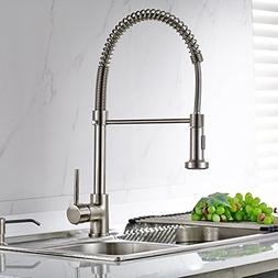 FLG Modern Spring Pull Down Kitchen Sink Faucet with Sprayer