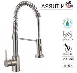 Niturra cUPC  Single Handle Brushed Nickel Kitchen Faucet. S
