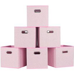 Durable Double Metal Handle Cloth Storage Cubes, Light Plink