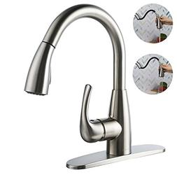 BOHARERS Kitchen Faucet with Sprayer Spray/Stream Brushed Ni