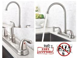 Kitchen Faucet Commercial Lead-Free Two Lever & Hole Goosene