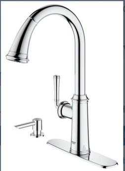 Kitchen Faucet Grohe Pull Down Wth Soap Dispenser Chrome 303