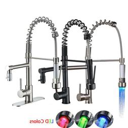 Kitchen Faucet Swivel Spout Pull Down Sprayer Deck Mount Sin