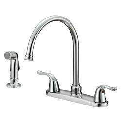 Two Handles Kitchen Faucet with Side Pull Out Sprayer Mixer