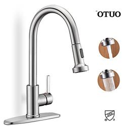 Kitchen Sink Faucet, OUTO Upgraded Stainless Steel Single Ha
