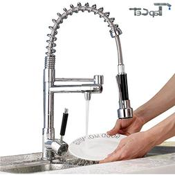 TAPCET Kitchen Sink Faucet Modern Chrome One Handle Spring K