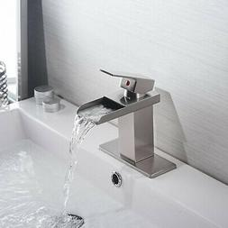 Brushed Nickel LED Kitchen Sink Faucet Swivel Pull Out Spray