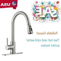 Kitchen Sink Stainless Steel Faucet Single Hole Pull-down Br