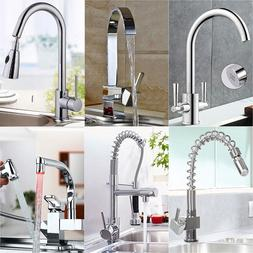 Pull Down Swivel Twin Sink Kitchen Mono Mixer Tap Hand Held