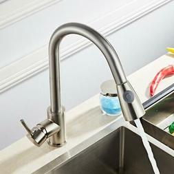Kitchen Spring Faucet Swivel Sink Bar Pull Out Sprayer Singl