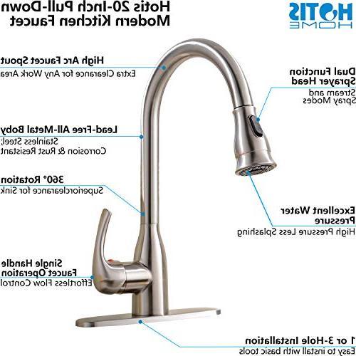 HOTIS HOME Hotis Single Stainless Steel Sprayer Sink, Nickel Kitchen faucets