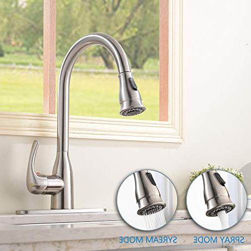 HOTIS HOME Hotis Handle Stainless Down Sprayer Brushed Kitchen faucets White