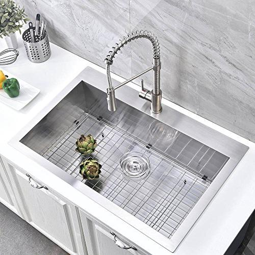 "Friho 18"" 18 Commercial Large Topmount Drop-in Single Bowl Basin Steel Nickel Kitchen Sinks Grid and"