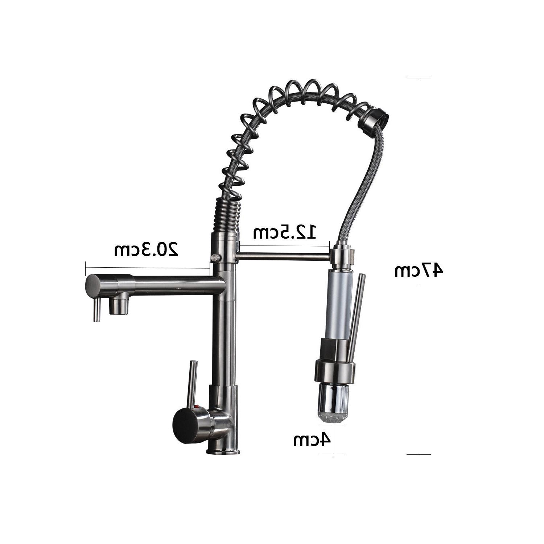 18''LED Faucet Dual Swivel Tap Pull Sprayer Escutcheon