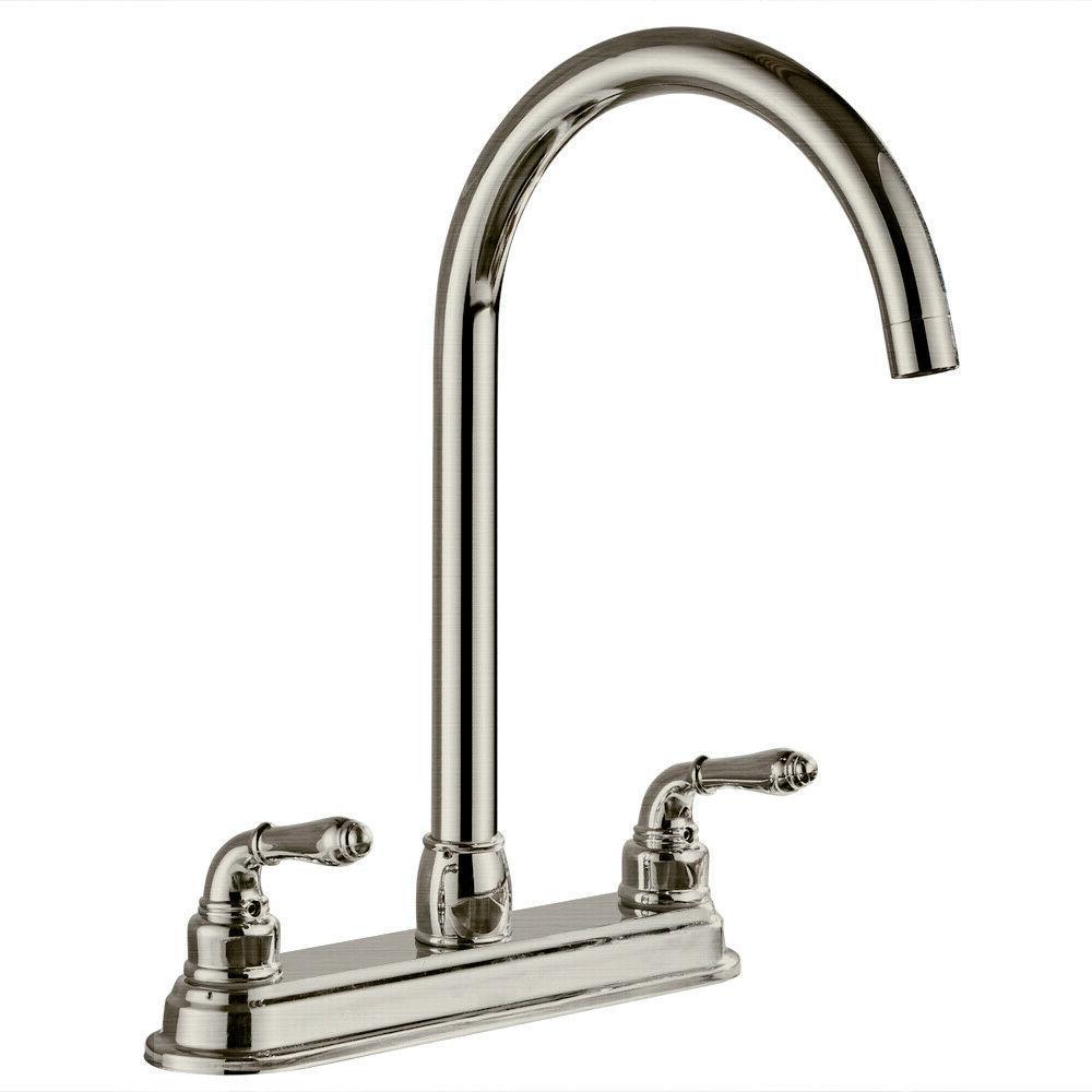 2 handle kitchen faucet fixed swivel spout
