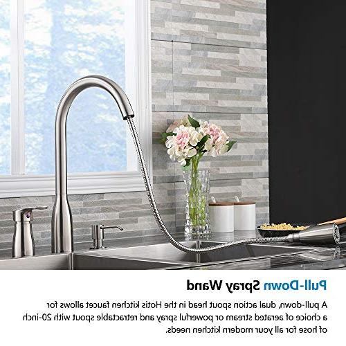 Hotis Out Prep Steel Down Faucet, Nickel Sink Faucet with