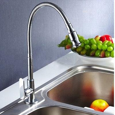 360 Rotate Chrome Brass Pull Out Spring Kitchen Sink Single