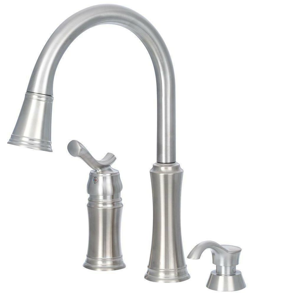 Delta Heritage Pull-Down Kitchen with Soap Dispenser, Stainless