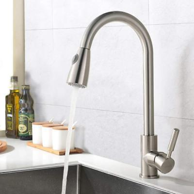 Brushed Nickel Faucet Pull Sprayer Mixer Single