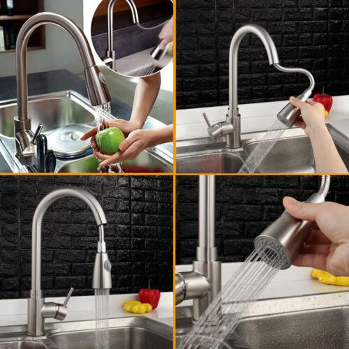 Brushed Nickel Kitchen Swivel Single Hole Pull Down Spray Tap