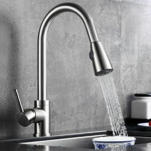 Brushed Kitchen Swivel Pull Spray Mixer Tap