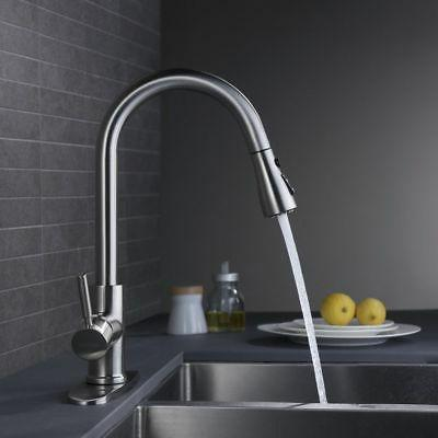 Brushed Nickel Kitchen Sink Faucet Pull Out Mixer Single Cover