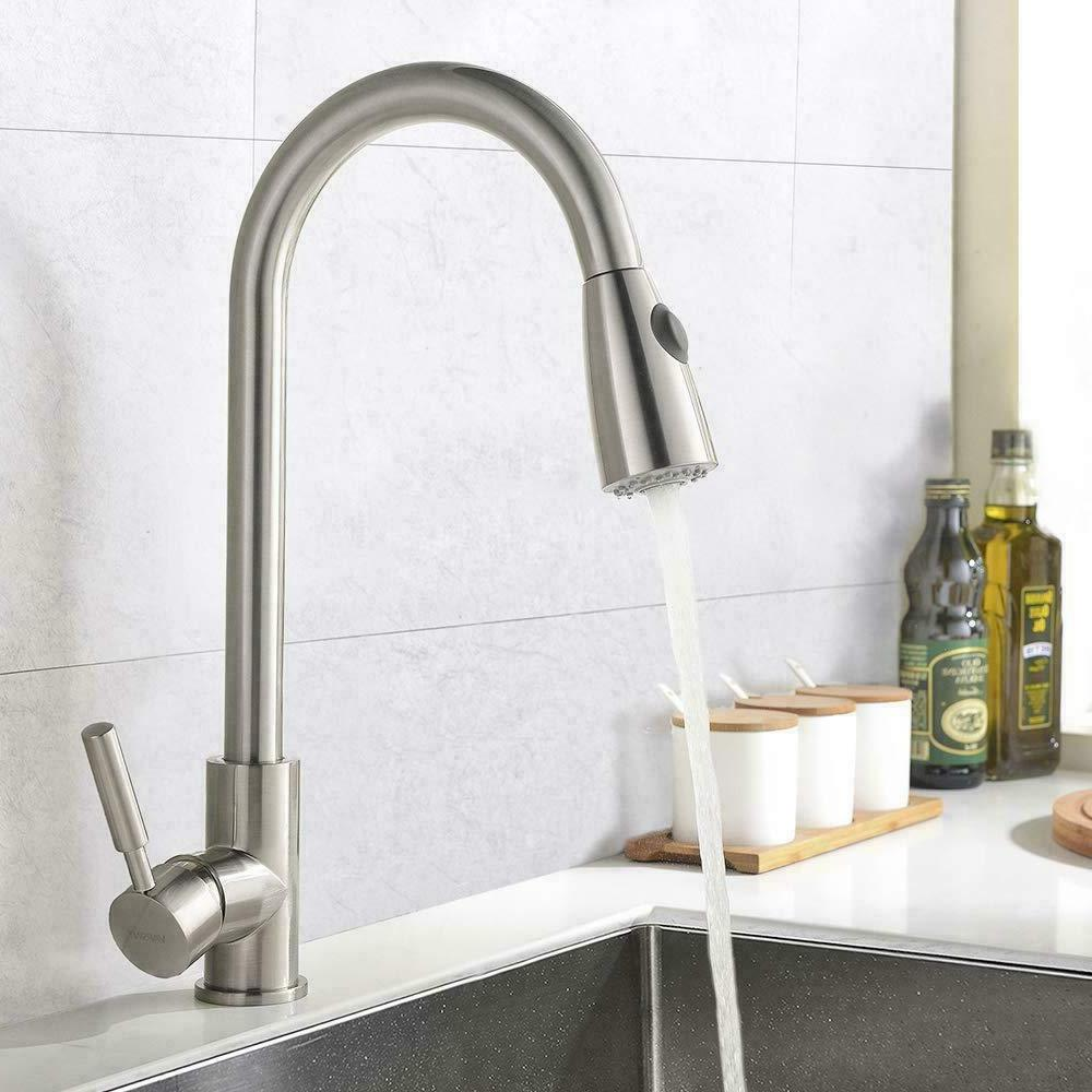 WEWE Single Handle High Arc Brushed Nickel Pull out Kitchen Faucet,Single Hole