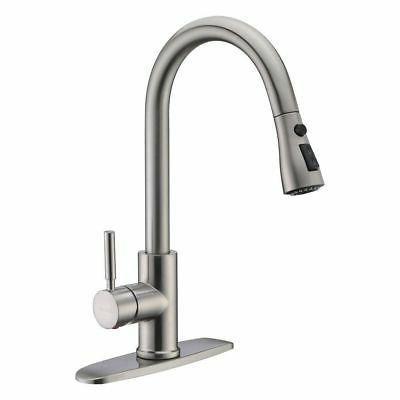 Brushed Nickel Kitchen Sink Faucet  Pull Out Sprayer Mixer S