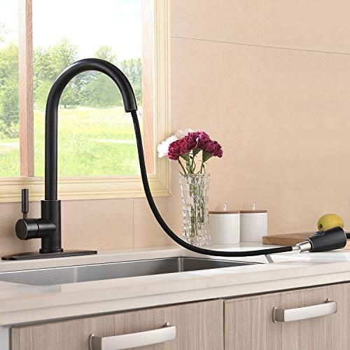 Hotis High Arc Out Lever Single Down Kitchen Sink Lead-Free Oil Bronze Kitchen Faucets Plate
