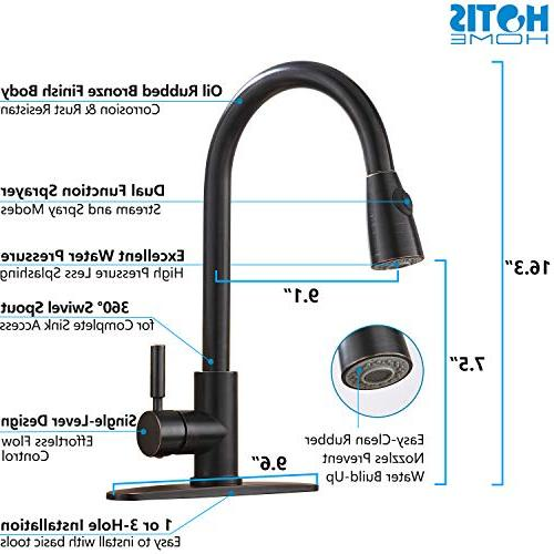 Hotis Arc Out Lever Single Handle Down Kitchen Sink Lead-Free Rubbed Bronze Kitchen Faucets Plate