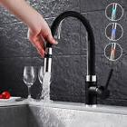 Black LED Kitchen Pull Out Spray Basin Mixer Sink Tap Brass